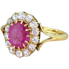 Victorian 1.51 Carat Ruby and Old Cut Diamond Cluster Ring