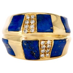 1970s Diamond Lapis Yellow Gold Dome Cocktail Ring