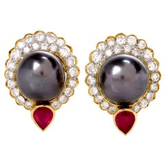 1980s Black Pearl Diamond Ruby Yellow Gold Clip-On Earrings