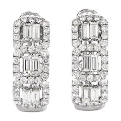 21st Century Baguette and Round Diamond Huggie Clip-Back Earrings