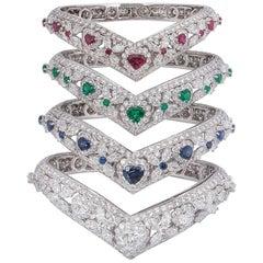 Graff Diamond, Emerald, Ruby and Sapphire Set Bangles