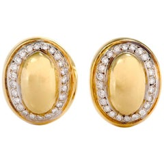 1980s Diamond 18 Karat Yellow Gold Oval Clip-On Earrings