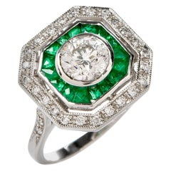 Diamond Platinum French Emerald Engagement Ring