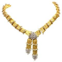 1960s Botanical Diamond Yellow Gold Collar Necklace