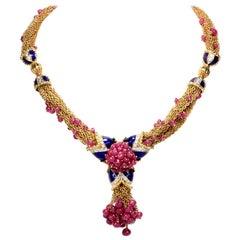 1970s Giovane Ruby Diamond Enamel 18 Karat Gold Multi Chain Drop Necklace