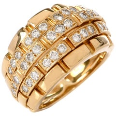 Cartier Maillon Panthere 5-Row Diamond Bombe Gold Ring