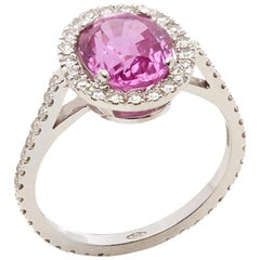 David Morris 18 Karat White Gold Oval Cut Pink Sapphire & Diamond Cocktail Ring