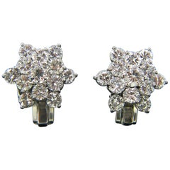 Modern Round Brilliant Diamonds White Gold Platinum Earrings Clips
