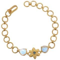 Emma Chapman Moonstone Aquamarine Gold Plate Bracelet
