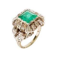 Emerald Ring with 12 Old Cut Diamonds, 14 Carat, 18th Century
