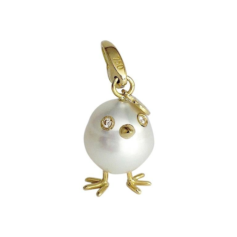 Chick Pearl Diamond 18 Karat Gold Pendant, Necklace or Charm For Sale