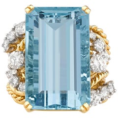 Aquamarine and Diamond Ring, 23.30 Carat