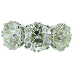 Victorian Old Cut Diamond Ring, 7.39 Carat, Remounted in Platinum Setting