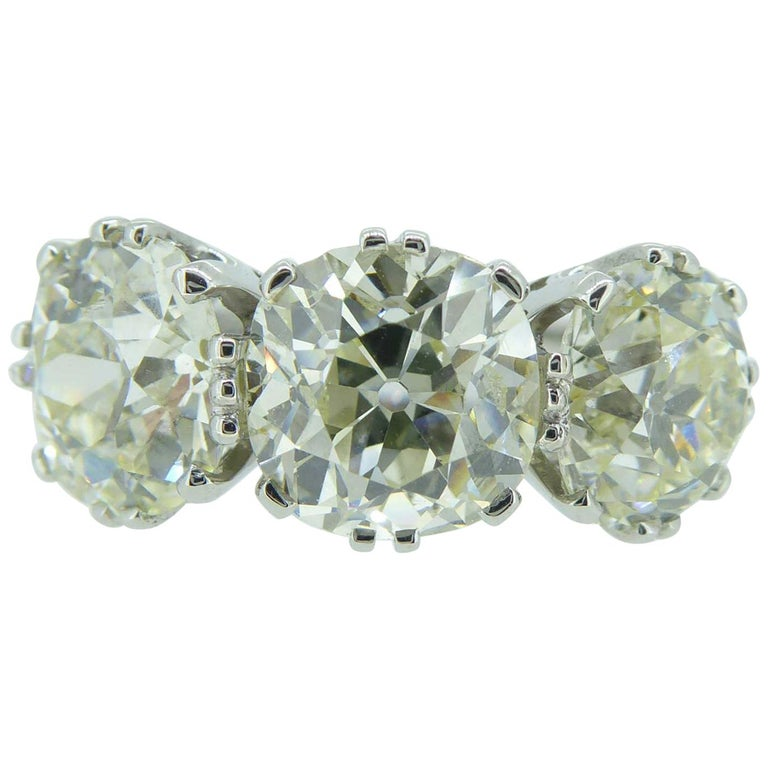 Victorian Old Cut Diamond Ring, 7.39 Carat, Remounted in Platinum Setting For Sale