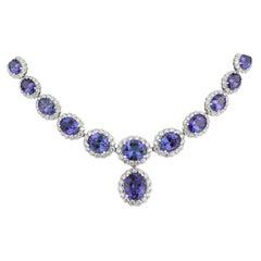 Tanzanite and Diamond Necklace, 47.86 Carat