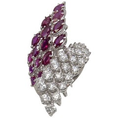 Marquise Rubies and Round Diamonds Ring in 18 Carat White Gold Cocktail in Stock