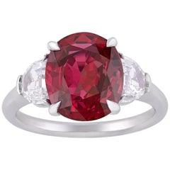 Three-Stone Burma Ruby and Diamond Ring, 4.28 Carat