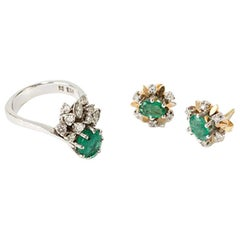 Emerald Jewelry Set with Diamonds, 18 Carat White Gold, 20th Century