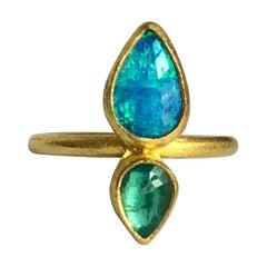 22 Karat Gold, Rose Cut Zambian Emerald, Australian Opal Double Stone Ring