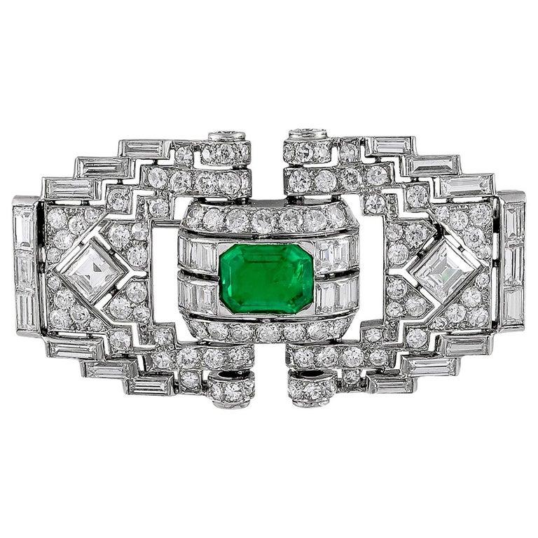 Mauboussin Diamond Emerald Brooch For Sale