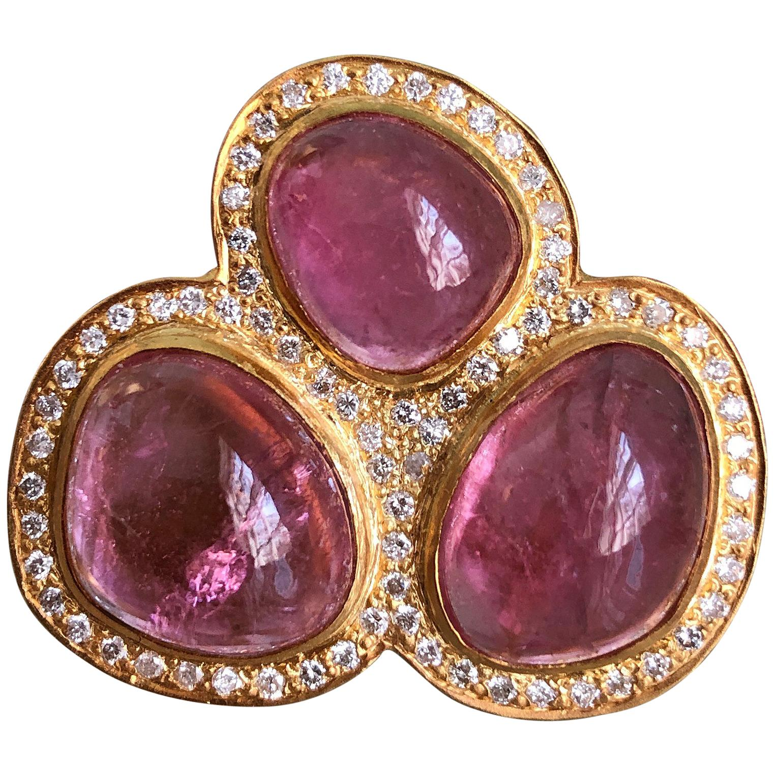 22.91 Carat Pink Tourmaline Diamond Cocktail Ring by Lauren Harper