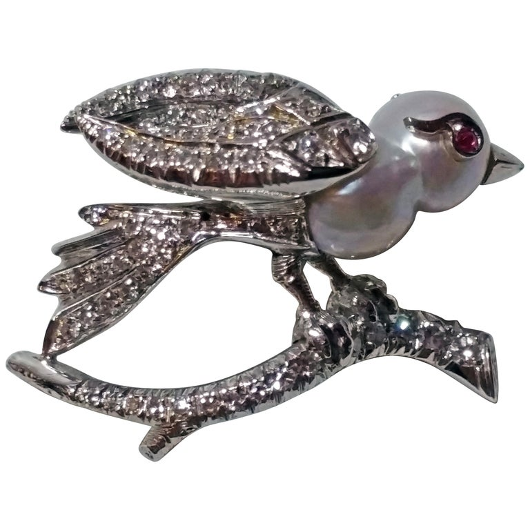 Brooch Bird on Bough Gold Diamonds 0.75 Carat Pearl Ruby, Austria, circa 1935 For Sale