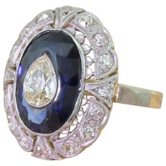Midcentury Old Pear Cut and Sapphire Cluster Ring