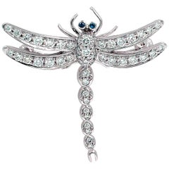 Tiffany & Co. Platinum Diamond Dragonfly Brooch Pendant 0.59 Carat
