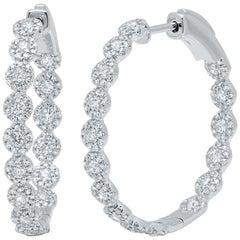 1.58 Carat 14 Karat White Gold Diamond Hoop Earring