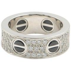 Cartier Diamond Black Screw Love Ring 0.74 Carat 18 Karat White Gold 0.74 Carat