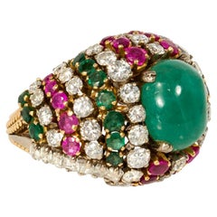1960s Multi-Gemstone Bombé Cocktail Ring with Cabochon Emerald Center