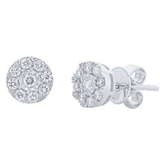 0.28 Carat 14 Karat White Gold Diamond Cluster Stud Earring