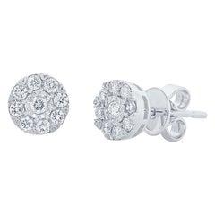 0.28 Carat 14 Karat White Gold Diamond Cluster Stud Earring