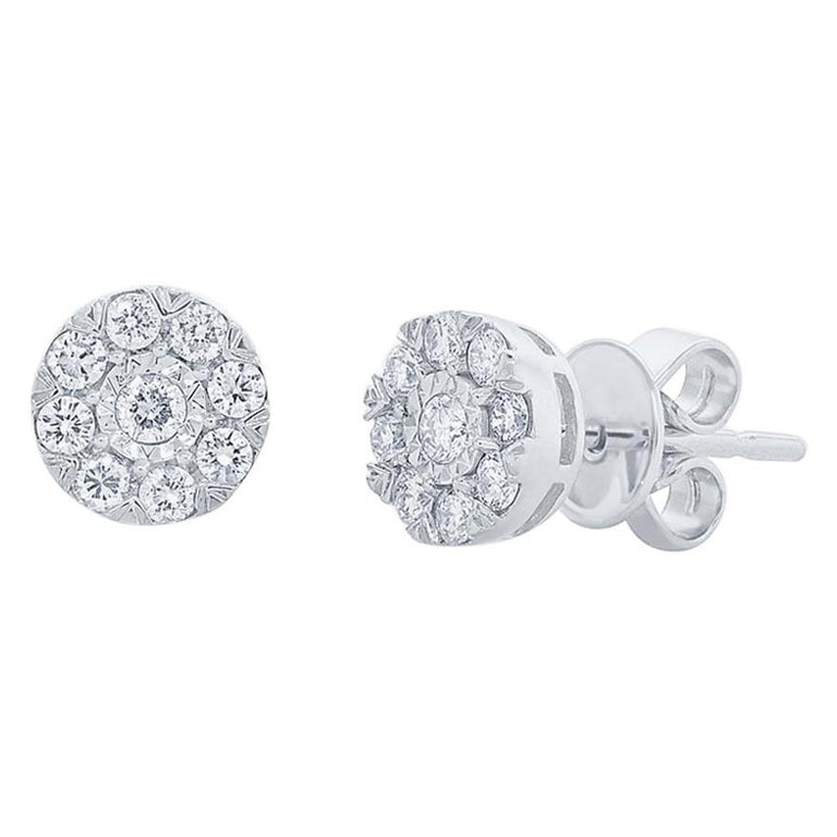 0.28 Carat 14 Karat White Gold Diamond Cluster Stud Earring For Sale