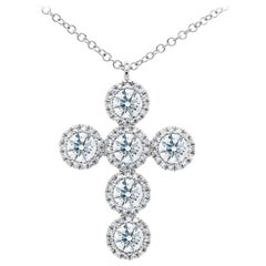 1.42 Carat 14 Karat White Gold Diamond Cross Necklace