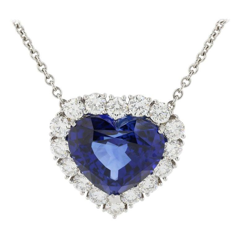 16.86 Carat Heart Shape Sapphire and Diamond Pendant For Sale