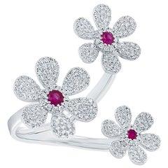 0.48 Carat Diamond and 0.18 Carat Ruby 14 Karat White Gold Flower Ring