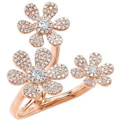 0.62 Carat 14 Karat Rose Gold Diamond Flower Ring