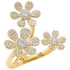 0.62 Carat 14 Karat Yellow Gold Diamond Flower Ring
