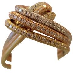Yellow Rose White 18 Karat Gold Band Cocktail Ring Diamond 0.88 Carat