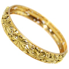 Art Nouveau 18 Karat Gold Bangle Bracelet