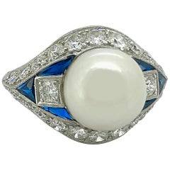 Art Deco Akoya Pearl, Diamond and Sapphire Antique Platinum Ring