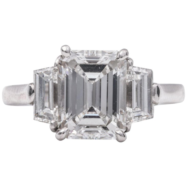 2.20 Carat Emerald Cut Three-Stone Diamond Engagement Ring For Sale