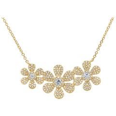 0.62 Carat 14 Karat Yellow Gold Diamond Flower Necklace