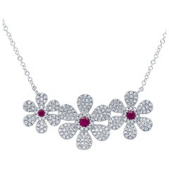 0.48 Carat Diamond and 0.16 Carat Ruby 14 Karat White Gold Flower Necklace