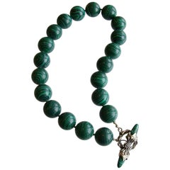 Malachite Choker Necklace with Sterling Malachite Toggle, Monique Necklace