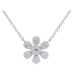 0.24 Carat 14 Karat White Gold Diamond Flower Necklace