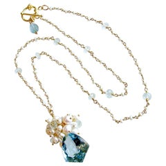 Shield Cut Aquamarine Seed Pearl Cluster Pendant Necklace, Diana II Necklace