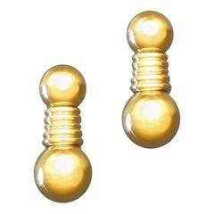 1980s Boucheron Gold Clip Post Drop Earrings, France