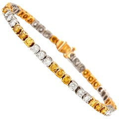 Oscar Heyman Fancy Yellow and White Diamond Bracelet